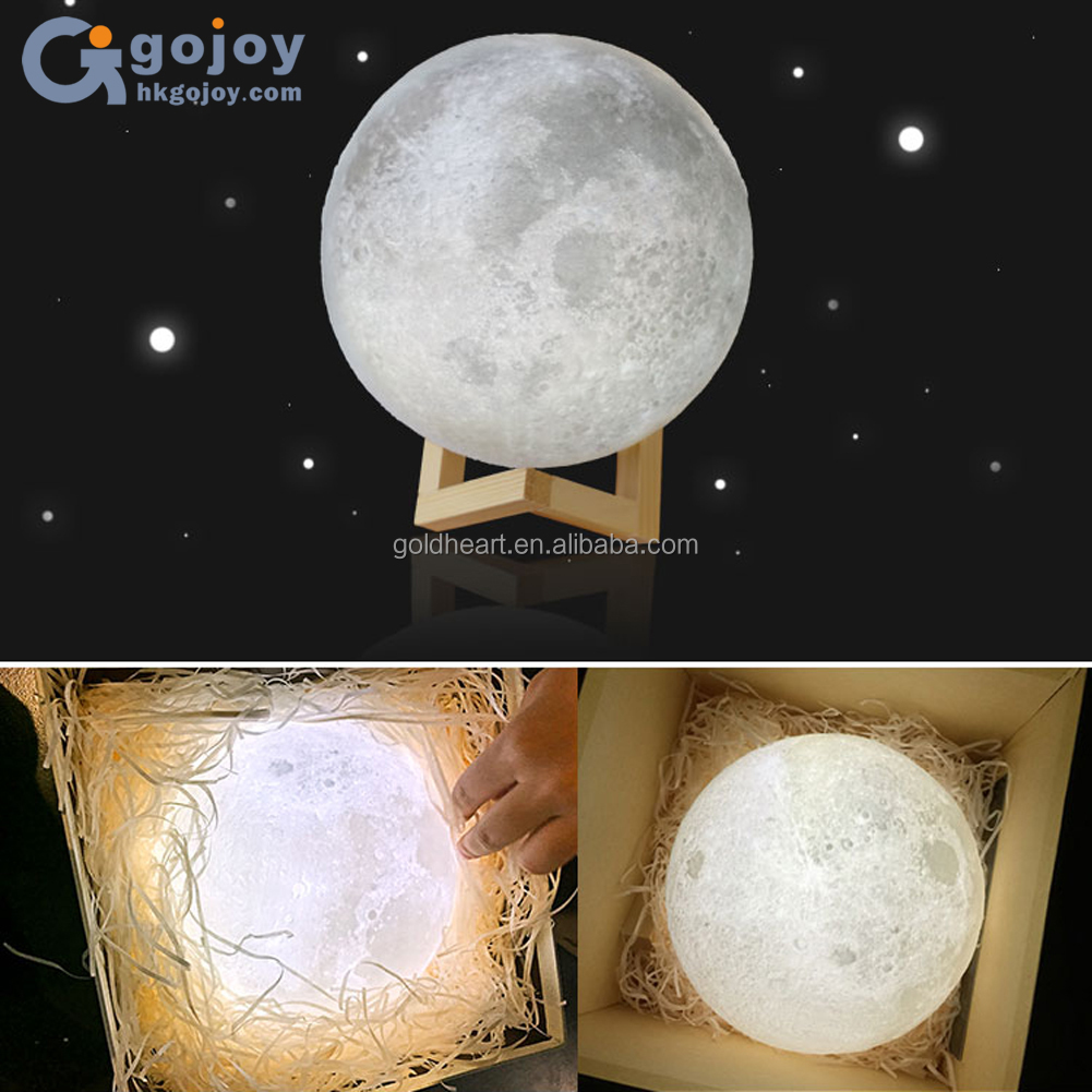 3D print creative novelty gift moon lamp USB LED Night Light 3d moon lamp manufacturer