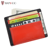 Top selling products Men's genuine leather zipper card wallet slim credit cardholder in alibaba
