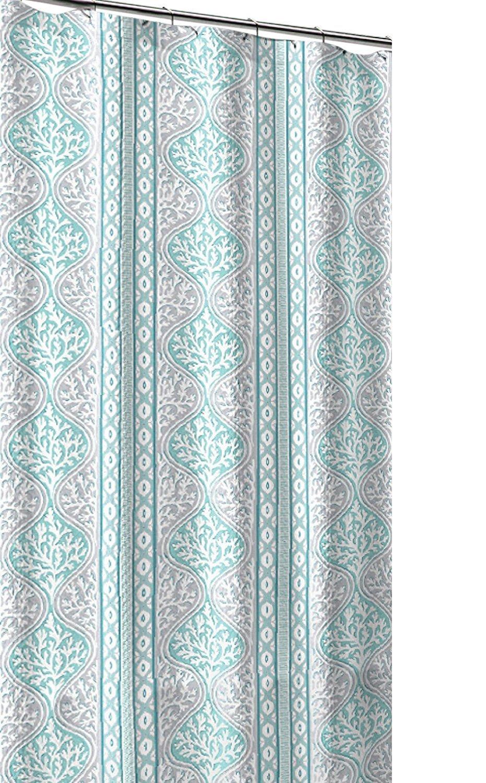 Get Quotations CHD Home Teal Aqua Blue Grey White Canvas Fabric Shower Curtain Beach Coral Geometric Stripe
