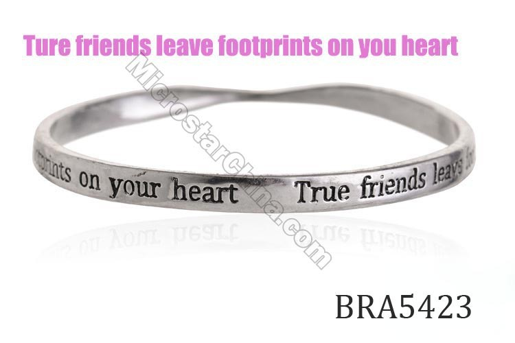 Cheap antique silver custom engraved letter metal equilibrium bracelet bangle
