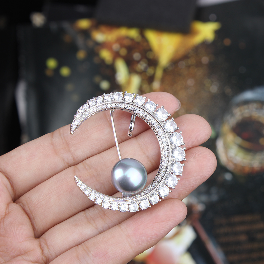 New Star-Bulan Bros Arabian Nights Zircon Star-Moon Mutiara Bros Wanita Fashion Bros Pin untuk Pernikahan
