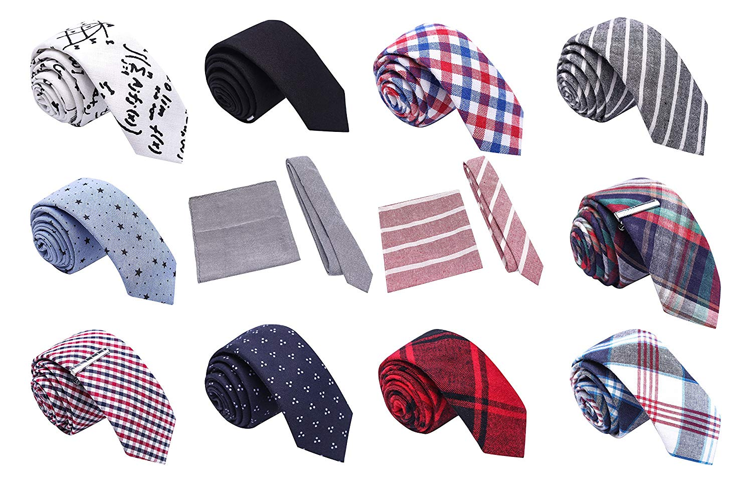 5693f636b2c8 Get Quotations · Skinny Tie Madness Colorful Essentials Bundle of 12, 2