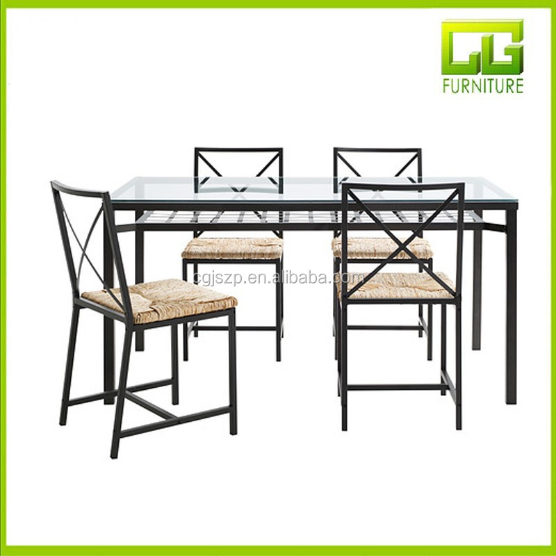 Malaysia Low Price Rectangle Glass Dining Table Sets For Sale