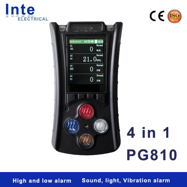 Portable diffusion type 4 in 1 multi gas detector with storage function