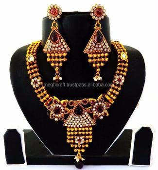 Wholesale Indian Ethnic Bridal Polki Jewellery One Gram Gold Wedding Wear Jewelry