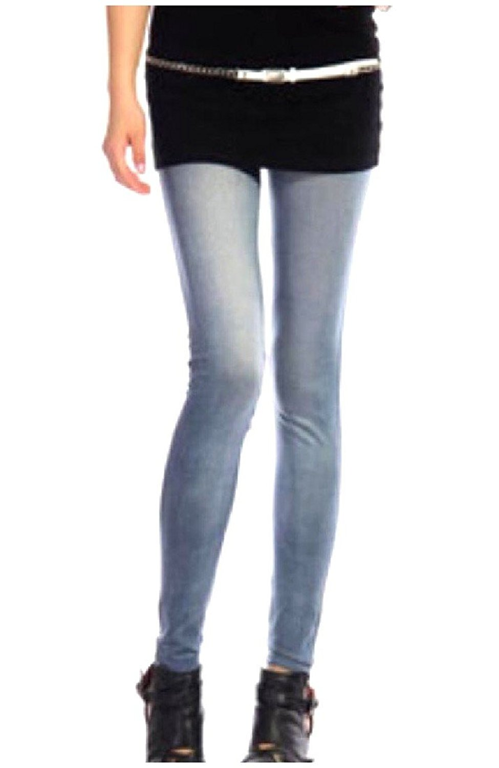 dc9010eb51dac Get Quotations · Coolred Women's Elastic Waist Printed Jeggings Washed Denim  Leggings
