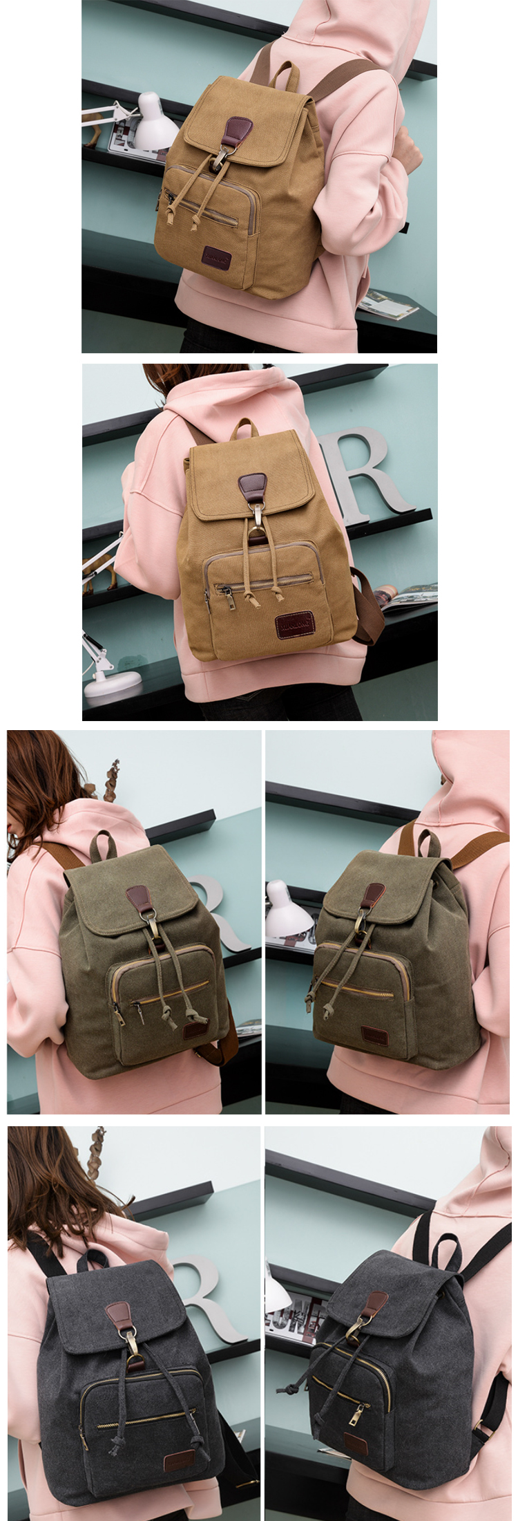 Osgoodway2 Wholesale Leisure Durable Womens Fashion Travel Drawstring Canvas College School Backpack for Girls