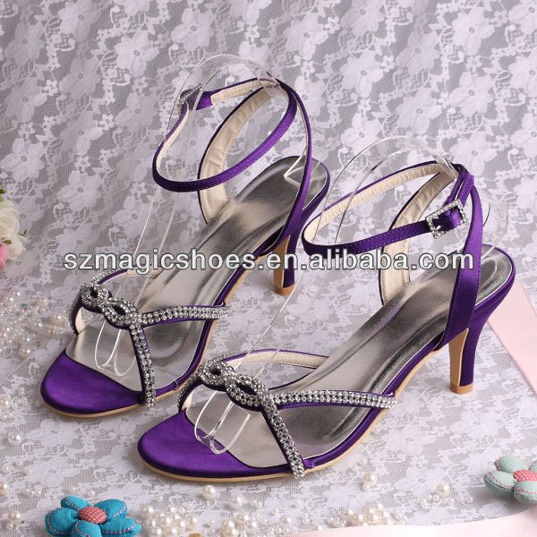12 Colors) Purple Stylish Low Heel Shoes Sandals With Crystals ...