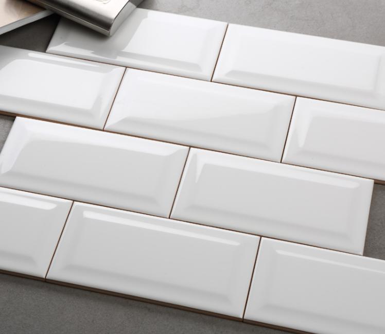 Beveled Edge White Ceramic Porcelain
