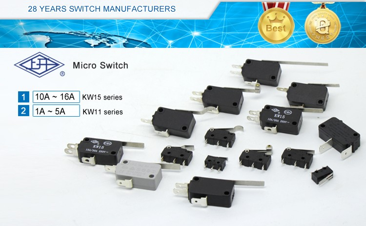 KW15 series 2 pins 16/10A  250V AC  5e4  25t85  electrical micro switch