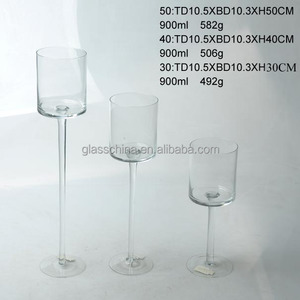 Tall Clear Glass Long Stem Candle Holder