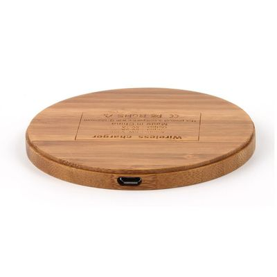 Free Sample 5V 1.5A Fast Charger 3 Coils Wooden Qi Wireless Charger For iphone