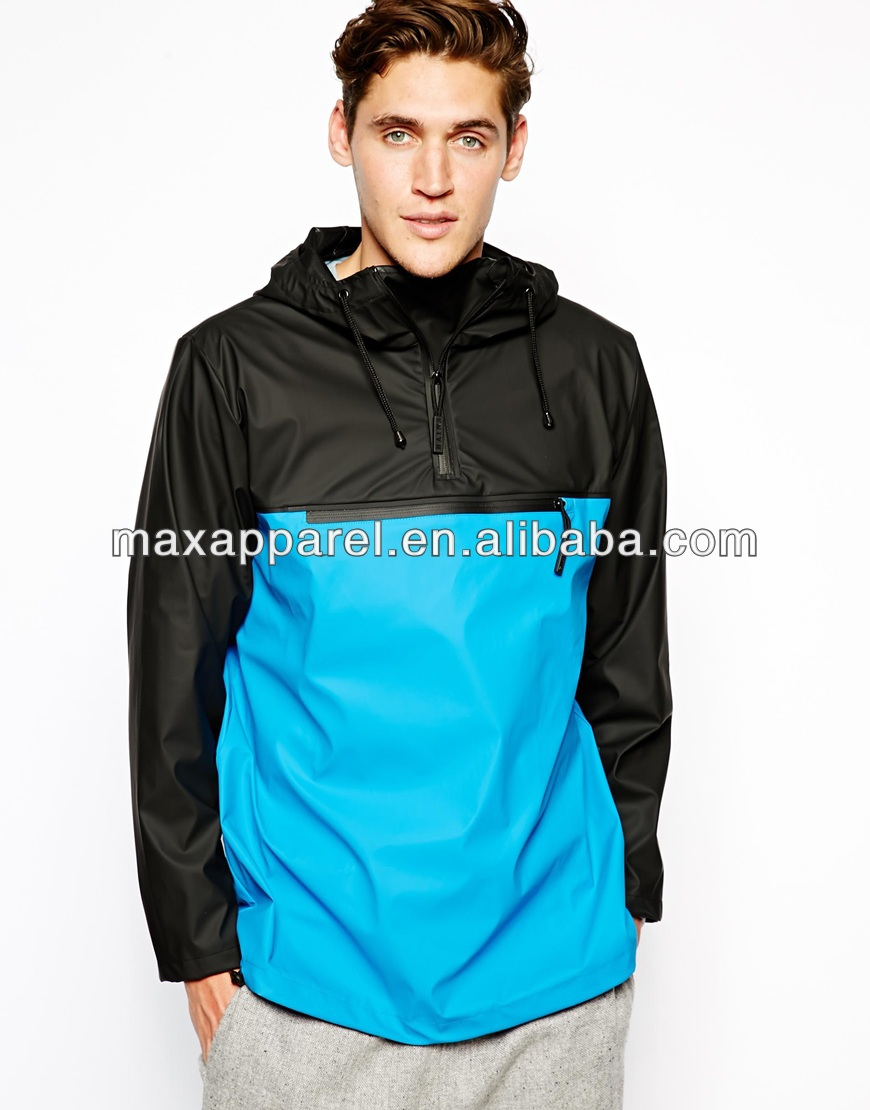 Mens Fashion Water Repellent Rain Jacket Half Zipper Openning