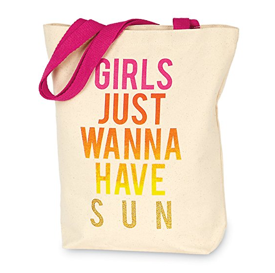Girls Just Wanna Have Sun Canvas Beach Tote Bag Beauty Shoulder Travel Cotton Bag