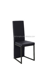 modern design KD metal black leather painted tube dining chair ZB14090-1