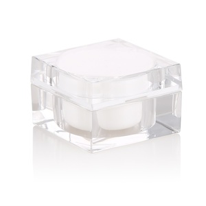 empty small quantity crystal acrylic jar square shaped acrylic diamond cosmetic jar