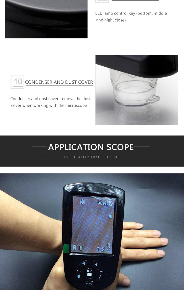 5.0MP Portable LCD Skin And Hair Analyzer Detector