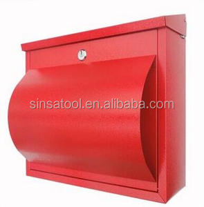 Red Mailbox lock stainless steel mail box post with newspaper holder