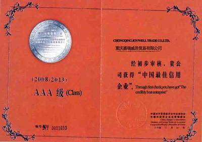 check certificate on chinese best credible enterpriser