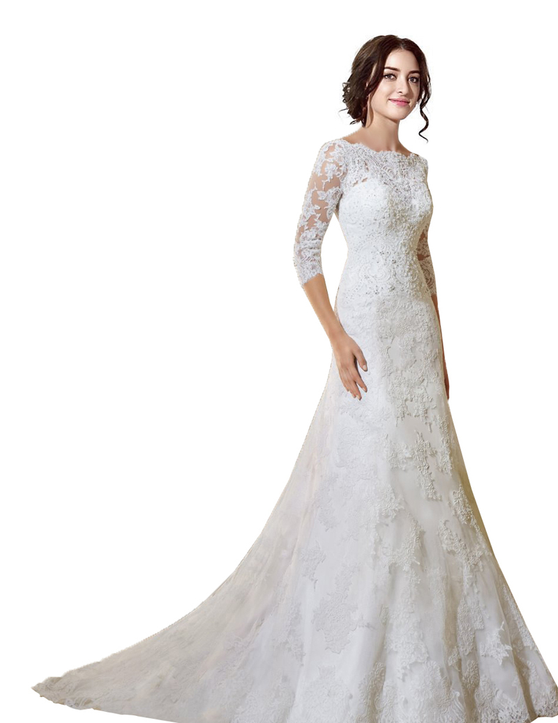 37109426b514 Get Quotations · Vestidos De Noiva 2015 New Sexy A Line Appliques Lace  Wedding Dresses Boat Neck Three Quarter