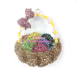 wholesale easter baskets and egg Charms Pendant Necklace Crystal Rhinestone Pendant for Easter Gift