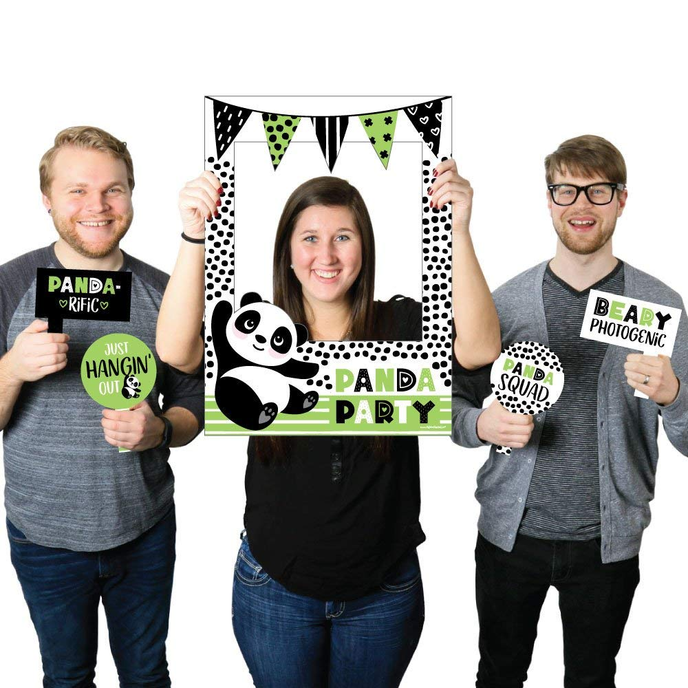 Big Dot of Happiness Party Like a Panda Bear - Baby Shower or Birthday Party Selfie Photo Booth Picture Frame & Props - Printed on Sturdy Material