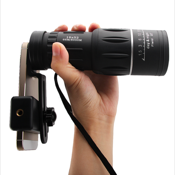High quality dual focus monocular 16x52 mobile phone monocular telescope + mobile phone tripod