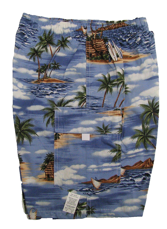 282cfdc48d Get Quotations · Polynesian Island Boy's Elastic Waist Flap Pocket Cargo  Hawaiian Shorts