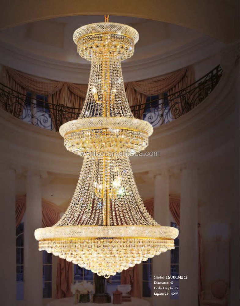 Empire style tiered luxury hotel crystal chandelier