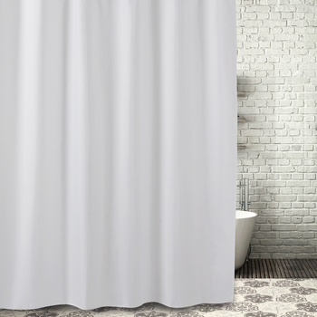 White Grid High Quality Polyester Waterproof Shower Curtain With Hooks