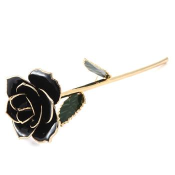 Reel Naturel Fleur De Rose Noire Trempe En Or 24 K Avec Support Pour