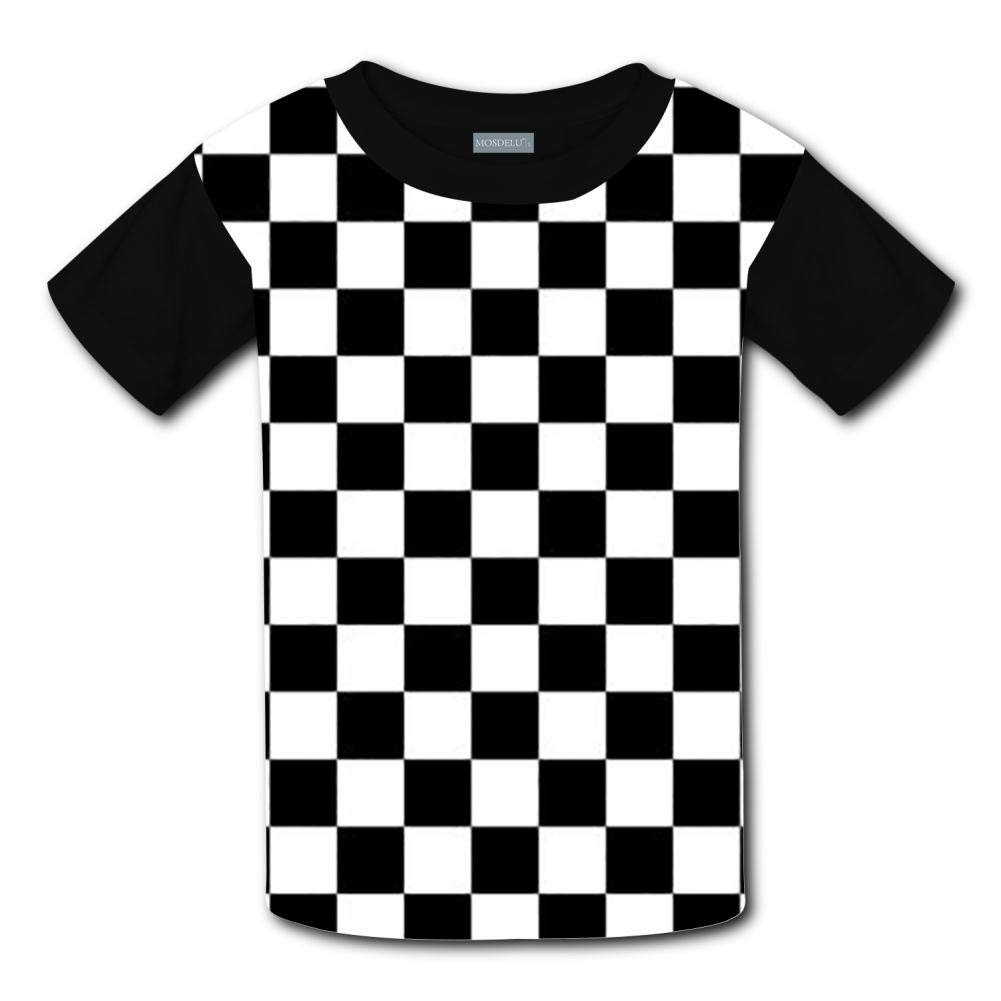 58b395572 Get Quotations · enrgbnhzad 321 Youth Casual Black & White Racing Checkered  Flag 3D Printed T-Shirts Short