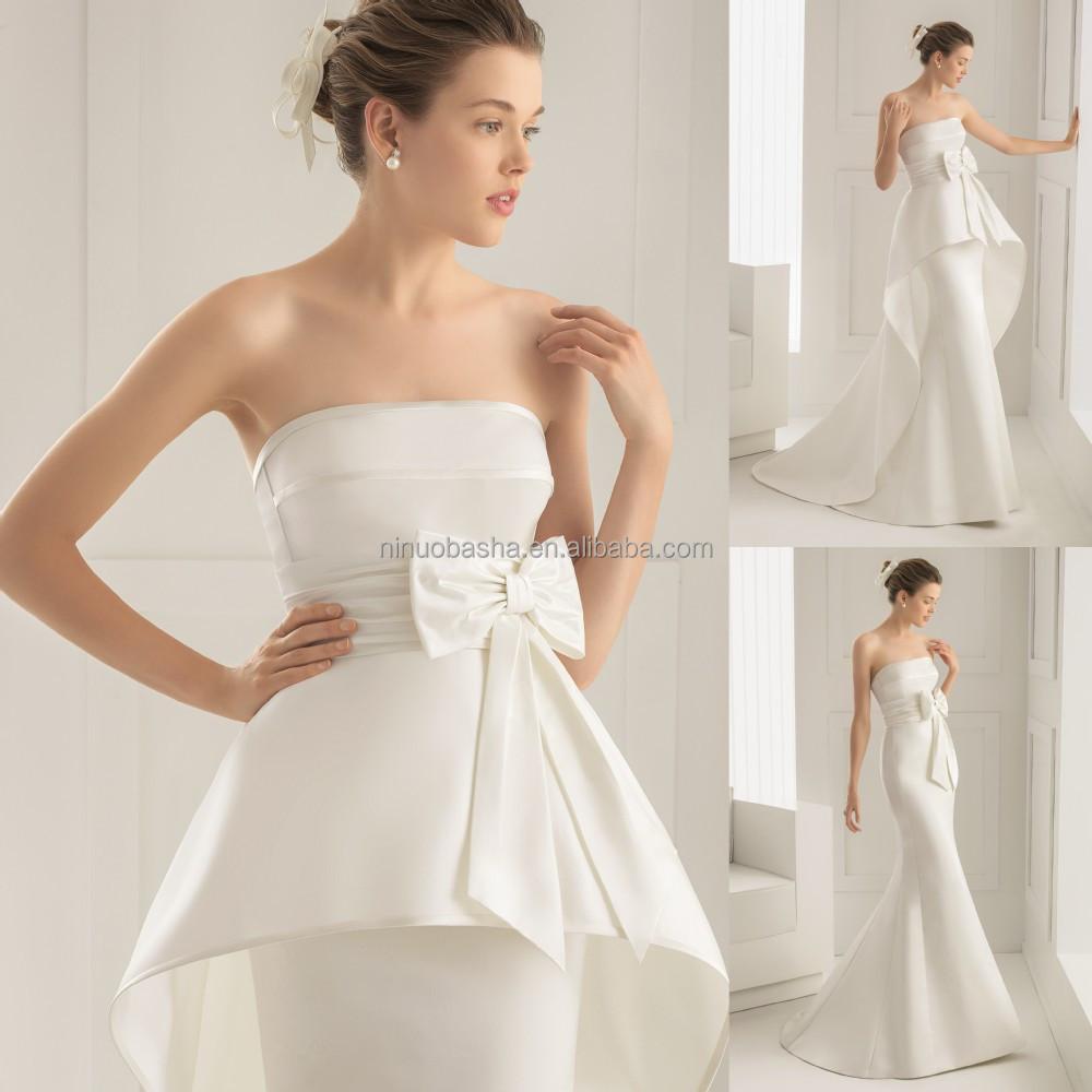 2015 Unique Silk Satin Wedding Dress And Detachable Train With ...