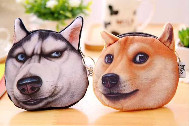 Fancy 3d vivid dog face pouch wallet promotional mini cute purse plush animal shape handbag euro coin purse with key ring