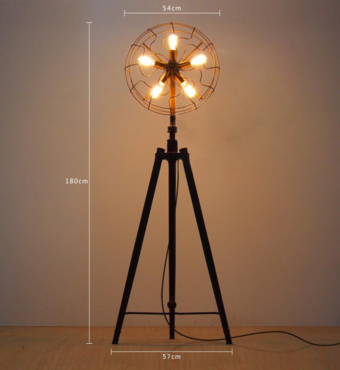 Vintage industrial black tripod fan shape metal floor lamp for vintage industrial black tripod fan shape metal floor lamp for coffee shop mozeypictures Gallery