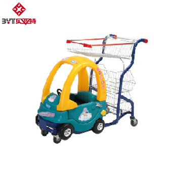 BYT New style plastic supermarket children kids ride shopping trolley cart with toy car