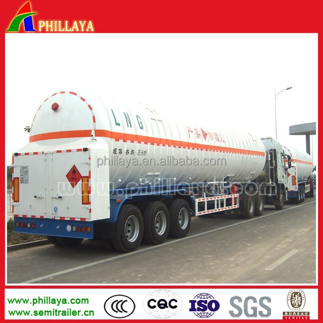 LPG co2 road propane composite insulation cryogenic liquid lorry 3AXLES trailer 55.6M3 lng tanker
