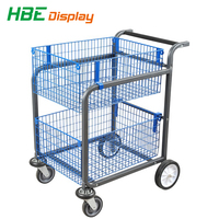 sloping with two wire basket storage cart for post office