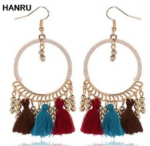 Round Bead Wind Cloth Earrings With Tassel Good Quality Black Red White Green Ethic Big Earrings For Women