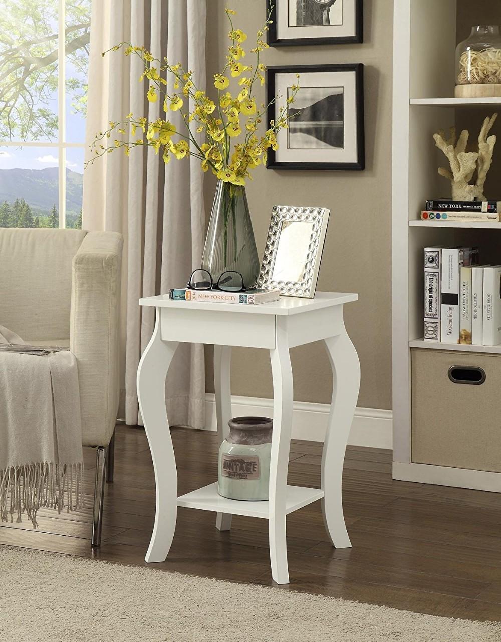 living room furniture white bedside table wooden corner