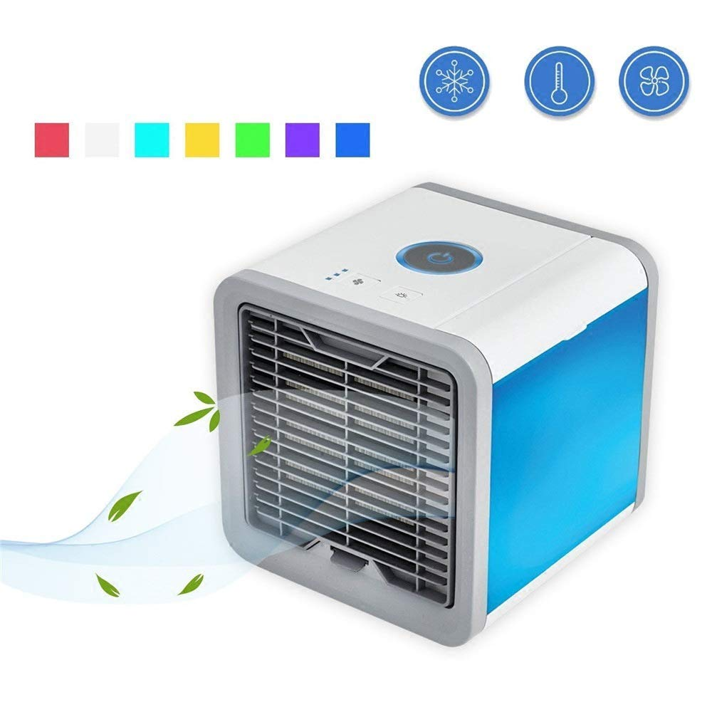 Angel Portable personal air conditioner, air personal space cooler USB mini air conditioner led colorful lights air purifier (white)