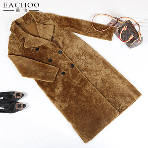 2018 Factory handmade brown real sheepskin leather long coat women