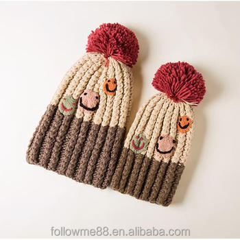 Handmade braided wool knit floral hat Winter Mom Baby Cap Knitted Hairball  Hat Kids Toddler Infant 8d952b6930e
