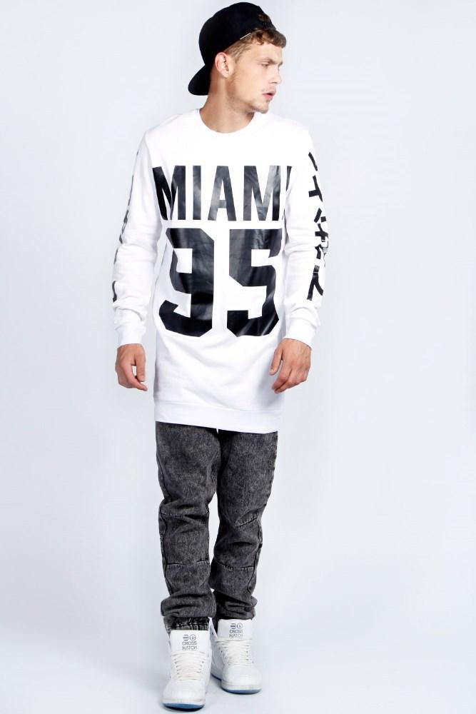 Fashion Mens Custom Longline Sweatshirt Hoodies