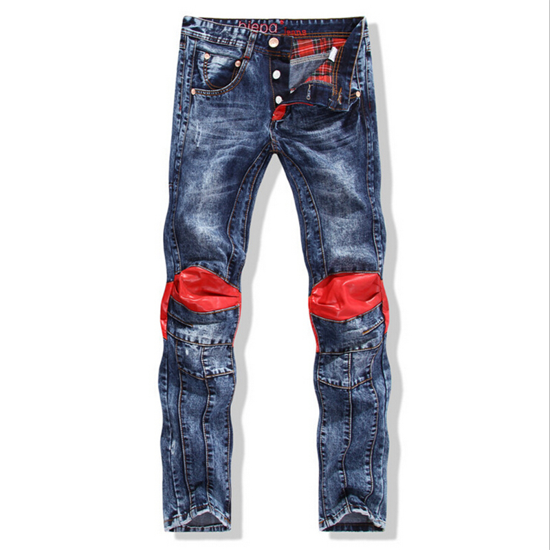 76b84c6c257 Get Quotations · Mens Biker Patch Jeans New Casual Elastic brand Men's  Korean Style Red Patch Jeans Runway Cowboy