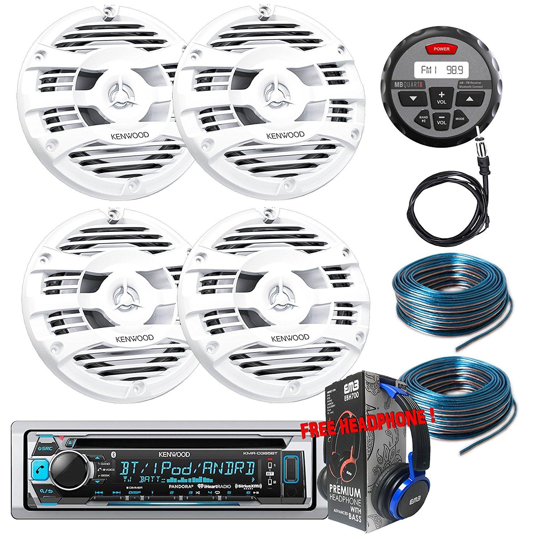 Package Kenwwod KMR-D365BT Bluetooth Marine CD Receiver + 2 Pairs KFC-1653MRW Marine Stereo Speaker + GMR-1 + Antenna + 2x 100FT Installation Wires + Free EMB Headphone For ATV UTV Boat Yatch