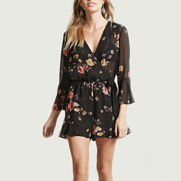 2017 wholesale urban clothing china manufacturer custom floral print dresses women summer long sleeve