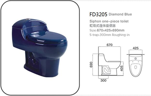 diamond dark blue color ceramic one-piece siphon toilet