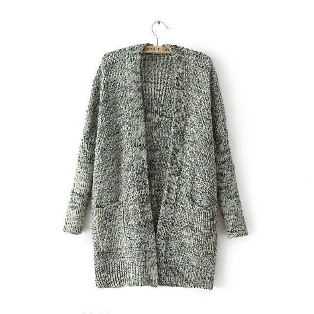Female casual lazy loose cable knit Cardigan long sweater