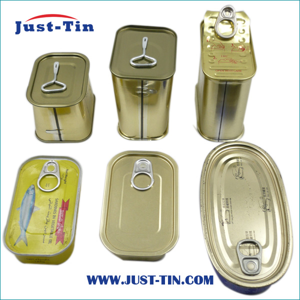 Factory price tin case wholesale 3 piece metal food rectangular tin can for canned meat/luncheon meat 340g 200g 125g